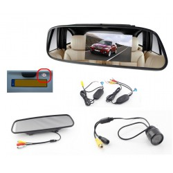 Mini Car Rear view Camera + Miror Monitor - Wireless - 120° - Waterproof