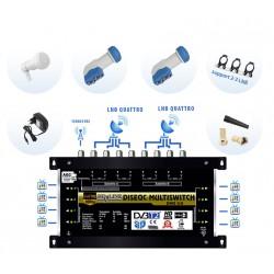 Kit Multiswitch 9/8 + 2 LNB Quattro + Support 3 LNB + 20 Connecteurs F + 10 manchons