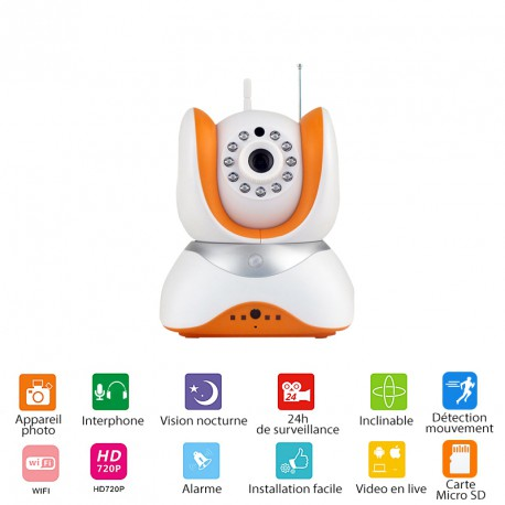 WIFI Camera PTZ13 - 720P WIFI - Night vision - 24 hours security monitoring