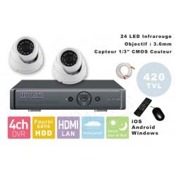 Kit videosurveillance  DVR 4 sorties  + 2 Cameras domes MD-200W + 2x 20m cable BNC blanc + 1 adaptateur 4en1 + 1 alimentation 5A