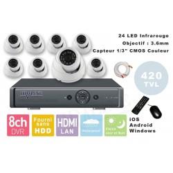 Kit videosurveillance DVR  8  + 8 Cameras MD-200W + 8x 20m cable BNC + 1 adaptateur 8en1 + 1 alimentation 5A