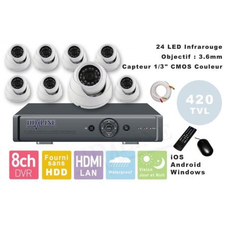 Kit videosurveillance DVR  8HQ  + 8 Cameras MD-200W + 8x 20m cable BNC blanc + 1 adaptateur 8en1 + 1 alimentation 5A