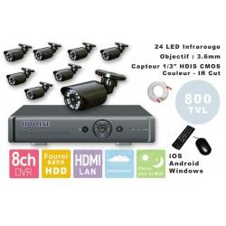 Kit videosurveillance DVR  8 sorties  + 8 Cameras WA-150PAL + 8x 20m cable BNC + 1 adaptateur 8en1 + 1 alimentation 5A