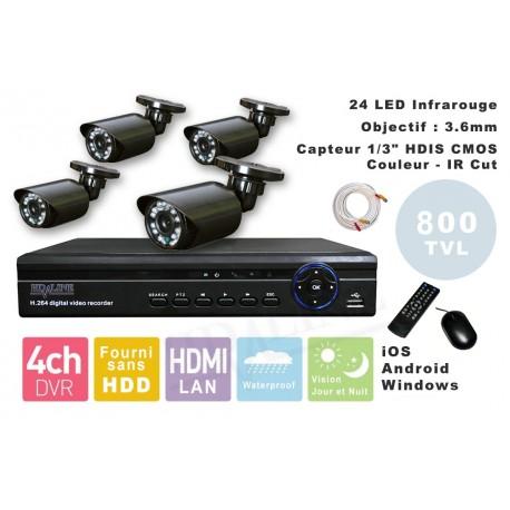 Kit videosurveillance  DVR  4HQ  + 4 Cameras WA-150PAL + 4x 20m cable BNC + 1 adaptateur 4en1 + 1 alimentation 5A