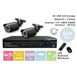 Kit videosurveillance  DVR 4HQ  + 2 Cameras WA-150PAL + 2x 20m cable BNC + 1 adaptateur 4en1 + 1 alimentation 5A