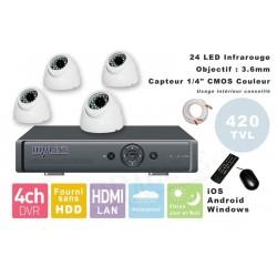 Kit videosurveillance  DVR 4 sorties  + 4 Cameras domes PL-50W + 4x 20m cable BNC + 1 adaptateur 4en1 + 1 alimentation 5A