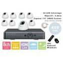 Kit videosurveillance DVR  8 sorties  + 8 Cameras domes PL-50W + 8x 20m cable BNC + 1 adaptateur 8en1 + 1 alimentation 5A