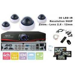 Kit videosurveillance  DVR 4 sorties  + 4 Cameras domes DZ-450 + 4x 20m cable BNC blanc + 1 adaptateur 4en1 + 1 alimentation 5A