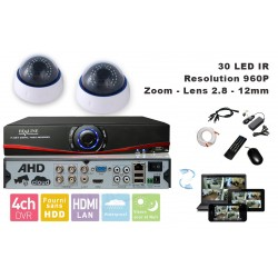 Kit videosurveillance  DVR 4 sorties  + 2 Cameras domes MD-450W + 2x 20m cable BNC blanc + 1 adaptateur 4en1 + 1 alimentation 5A