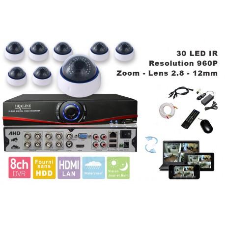 Kit videosurveillance DVR  8HQ  + 8 Cameras MD-450W + 8x 20m cable BNC blanc + 1 adaptateur 8en1 + 1 alimentation 5A