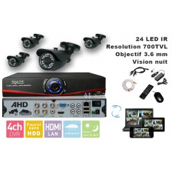 Kit videosurveillance  DVR 4 sorties  + 4 Cameras WP-500B + 4x 20m cable BNC blanc + 1 adaptateur 4en1 + 1 alimentation 5A