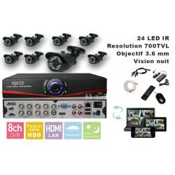 Kit videosurveillance DVR  8HQ  + 8 Cameras WP-500B + 8x 20m cable BNC + 1 adaptateur 8en1 + 1 alimentation 5A