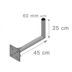 Fixation Murale L Antenne Et Parabole 25 X 45 cm - Diamètre 60mm