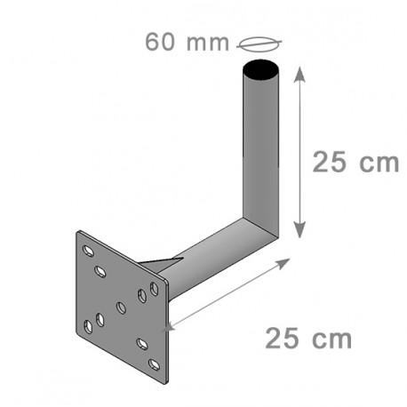 FIXATION L MURALE ANTENNE ET PARABOLE 25 X 25 cm - Diamètre 60mm