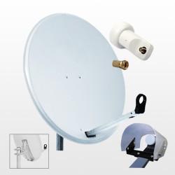 Kit HD-LINE Basic Parabole 80cm acier + LNB Single + Protection anti-pluie + 1 connecteur
