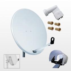 Kit HD-LINE Basic Parabole 60cm acier + LNB Quad + Protection anti-pluie + 4 connecteurs