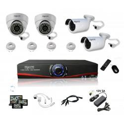 Kit Vidéosurveillance IP DVR AHD 4CH + 2 dômes IP + 2 caméras IP