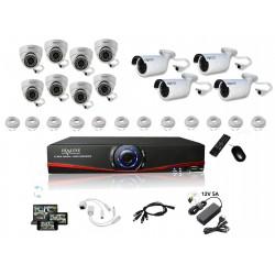 Kit Vidéosurveillance IP NVR 8 dômes IP1150 + 4 caméras IP1250 + 12x 20m RJ45 + 12x adaptateurs RJ45 + 2 1/8 splitter + 2 Alim