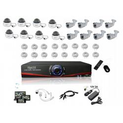 Kit Vidéosurveillance IP NVR + 8 dômes IP1200 + 8 caméras IP1300 + 16x 20m RJ45 + 16x adaptateurs RJ45 + 2 1/8 splitter + 2 Alim