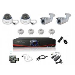 Kit Vidéosurveillance IP NVR + 2 dômes IP-1200 + 2 caméras IP-1300 + 4x 20m RJ45 + 4x adaptateurs DC/RJ45 + 1/4 splitter + Alim