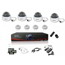Kit Vidéosurveillance IP NVR + 4 dômes IP-1150DC + 4x 20m RJ45 + 4x adaptateurs DC/RJ45 + 1/4 splitter + Alim