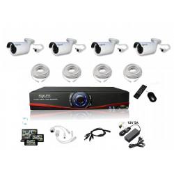 Kit Vidéosurveillance IP NVR + 4 caméras IP-1250 + 4x 20m RJ45 + 4x adaptateurs DC/RJ45 + 1/4 splitter + Alim