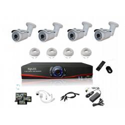 Kit Vidéosurveillance IP NVR + 4 caméras IP-1300 + 4x 20m RJ45 + 4x adaptateurs DC/RJ45 + 1/4 splitter + Alim