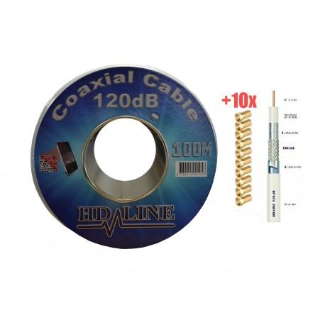 HD-LINE CABLE COAXIAL 100M PRO 120dB + 10 Connecteur F Gold - TNT  ANTENNE PARABOLE