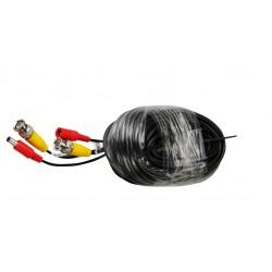 50M Cable Noir pour camera de surveillance CCTV - Avec connecteurs BNC et DC