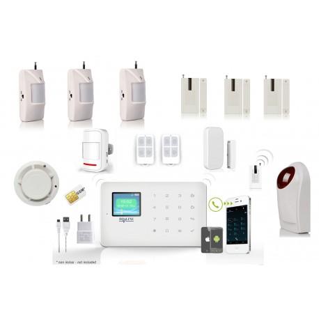 HD-LINE AL-18 Wireless GSM Alarm System + APP + 3x PIR / Door sensors + smoke sensor + strobe sirene + remote control