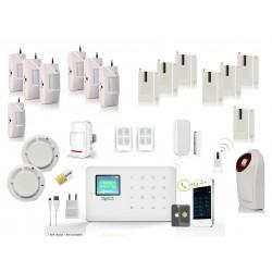 HD-LINE AL-18 Wireless GSM Alarm System + APP + 7 PIR / Door sensors + 2 smoke sensor + strobe sirene + remote control