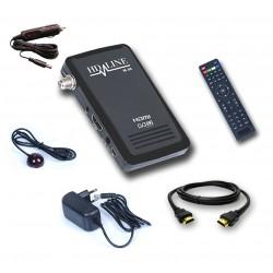 HD-LINE HD-100 + Allume-cigare Mini récepteur satellite FTA HD 220V 12V Idéal camping Bip signal