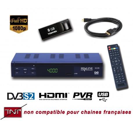 HD-LINE HD-250 + CLE USB 8Go Demodulateur satellite HD PERITEL FTA Chaines gratuites