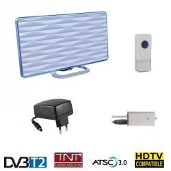 HD-LINE HD-935T Antenne TNT HD terrestre DVB-T2 intérieure 28 dB 2en1 + Sonnette 36 Mélodies