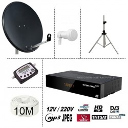 Kit parabole 65cm anthracite + Demo TNTSAT 12V + LNB Single + 10m cable coaxial + satfinder digital + trepied alu