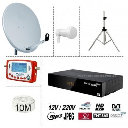 KIT TNTSAT 220/12V DEMO CLAYTON + PARABOLE 60CM + LNB SINGLE + SF-500 SATFINDER + 10M CABLE + TREPIED