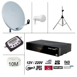 KIT TNTSAT 220/12V HD DEMO + PARABOLE 60CM + TREPIED + LNB SINGLE + DIGITAL FINDER + 10M CABLE