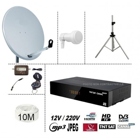 kit TNTSAT HD 220/12V DEMO CLAYTON + PARABOLE 60CM + LNB SINGLE + KIT SATFINDER BOUSSOLE + 10M CABLE 120 DB + TREPIED