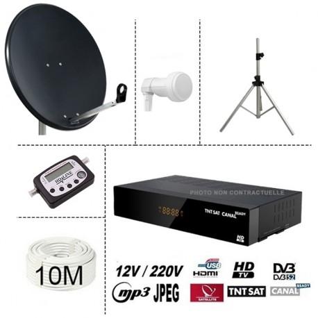 kit tntsat 220/12V demo + parabole acier 80cm + trepied + lnb single + digital satfinder + 10m cable