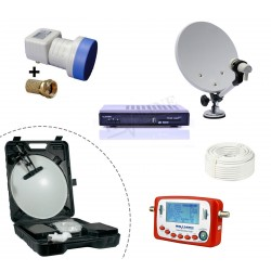 KIT CAMPING PARABOLE + LNB + SF-500 + DECODEUR TNTSAT HD 12V/220V + CABLE