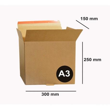 Boite A3  30 x 25 x 15 cm Carton à Fermeture adhésive / Fond automatique