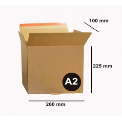 Boite A2  26 x 22.5 x 10 cm Carton à Fermeture adhésive