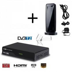 Kit terrestre HD Démodulateur TNT DVB-T2 + mini antenne intérieure HD-930T