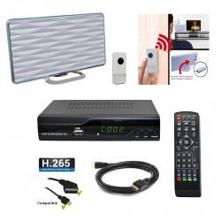 Kit TNT Décodeur HD DVB-T2 H.265 + Mini antenne TNT HD-935T