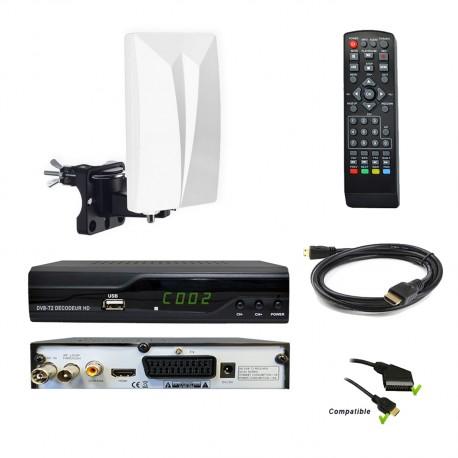 Kit TNT Décodeur HD DVB-T2 H.265 + antenne TNT HD-940T
