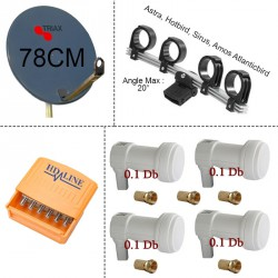 KIT PARABOLE TRIAX 78 +support LNB + 4 LNB + 5/1 DISEQC + 5 F