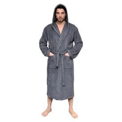 Leyf men's and boys' bathrobe size XL 100% OEKO-TEX® certified cotton - soft microfiber bathrobe, hood