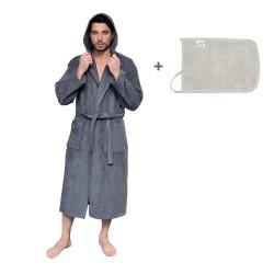 Leyf men's and boys' bathrobe size L 100% OEKO-TEX® certified cotton - soft microfiber bathrobe, hood