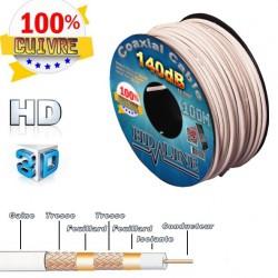 CABLE COAXIAL 140dB 100M HD-LINE - 100% CUIVRE - OFFERT 10 FICHES F - TERRESTRE & ANTENNE PARABOLE