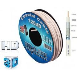 Cable COAXIAL 10M PRO 120dB TNT & ANTENNE PARABOLE